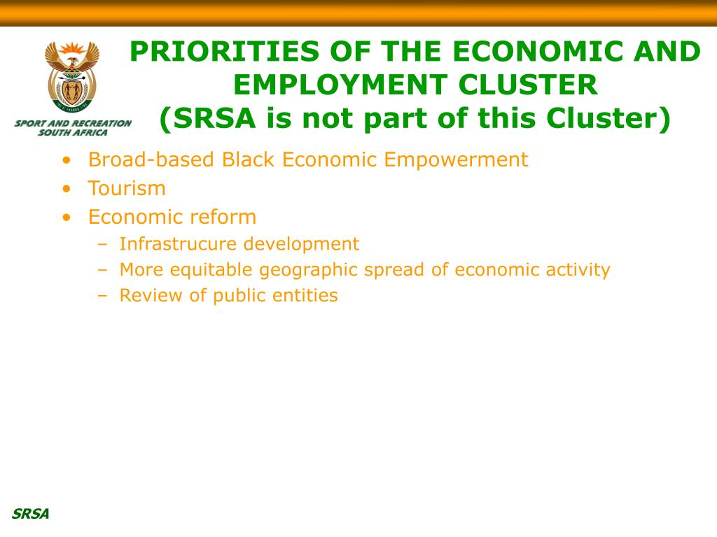 PRIORITIES OF THE ECONOMIC AND EMPLOYMENT CLUSTER