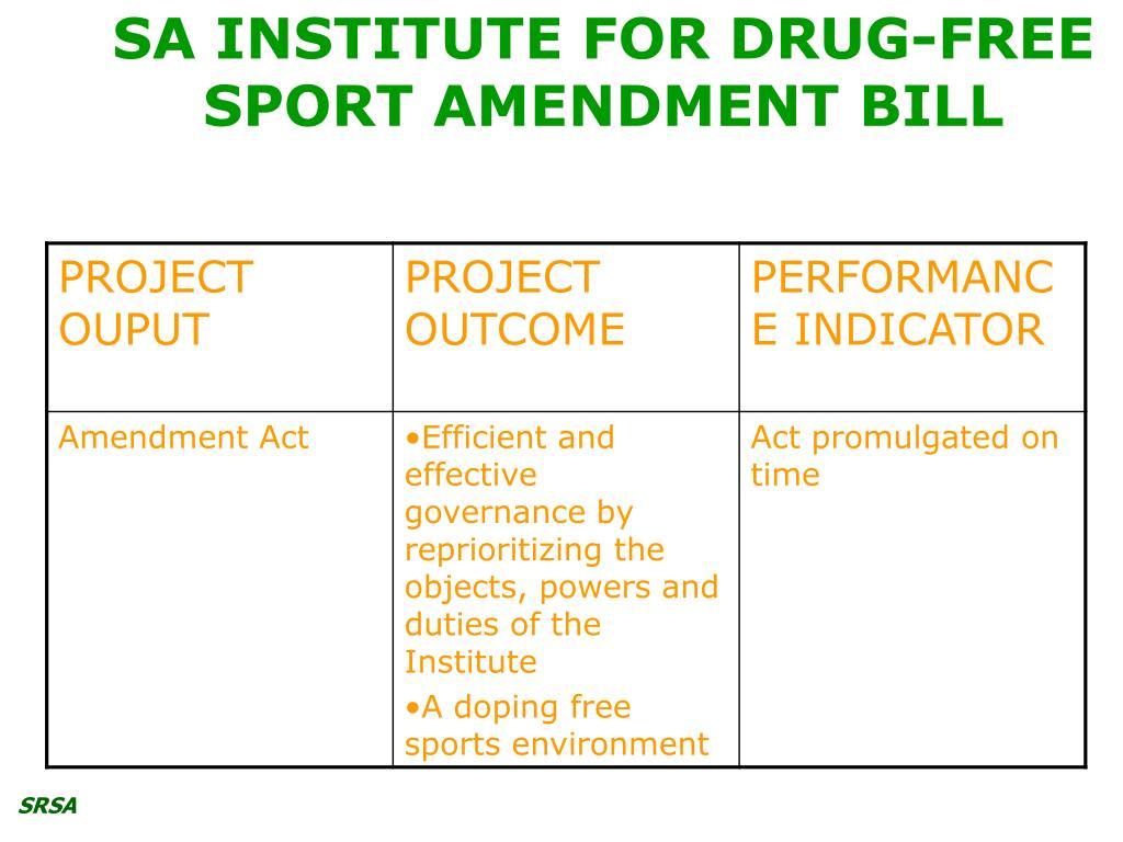 SA INSTITUTE FOR DRUG-FREE SPORT AMENDMENT BILL