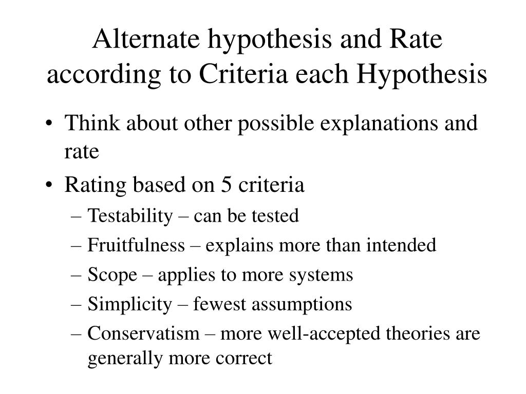 Alternate hypothesis and Rate according to Criteria each Hypothesis