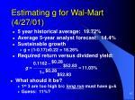 estimating g for wal mart 4 27 01