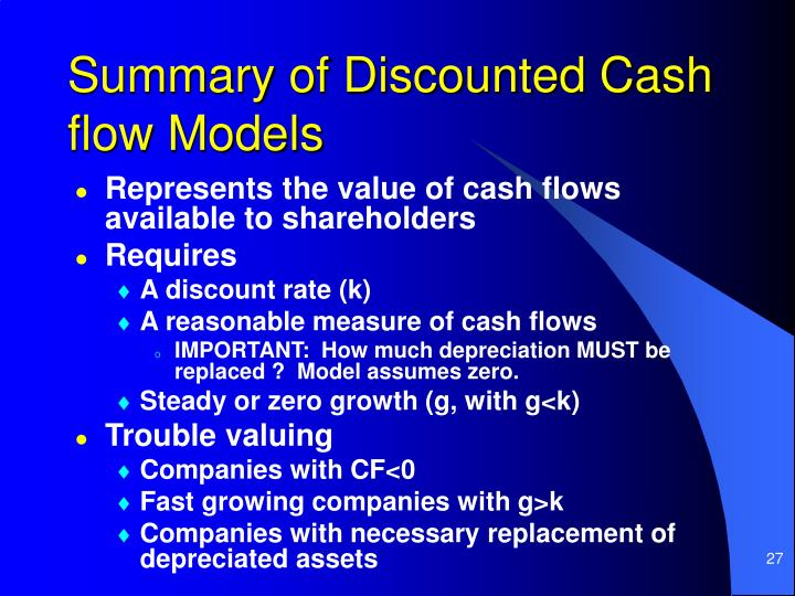 Summary of Discounted Cash flow Models
