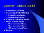 valuation lecture outline