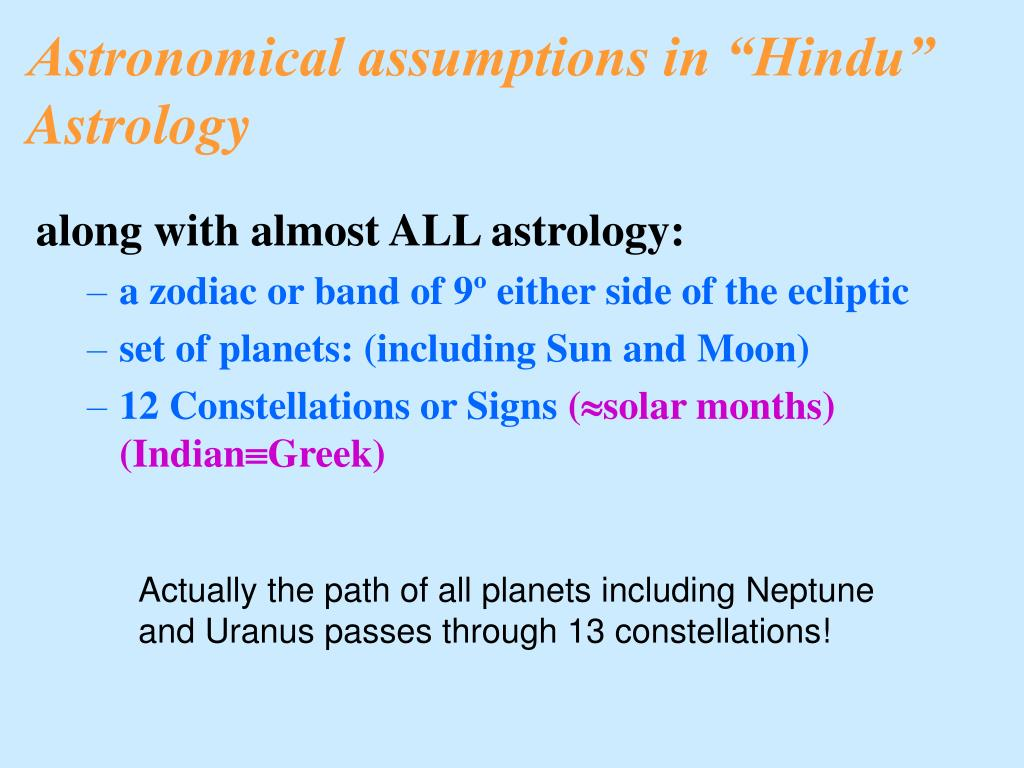 "Astronomical assumptions in ""Hindu"" Astrology"