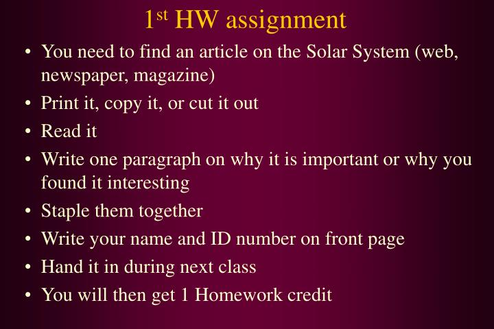 1 st hw assignment