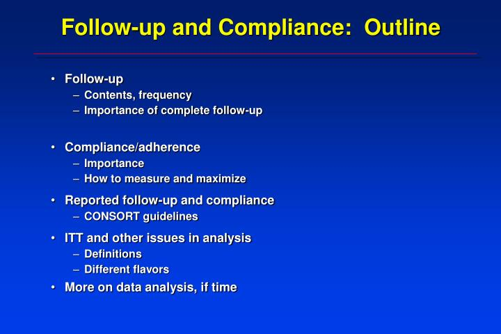 follow up and compliance outline n.
