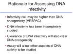rationale for assessing dna infectivity