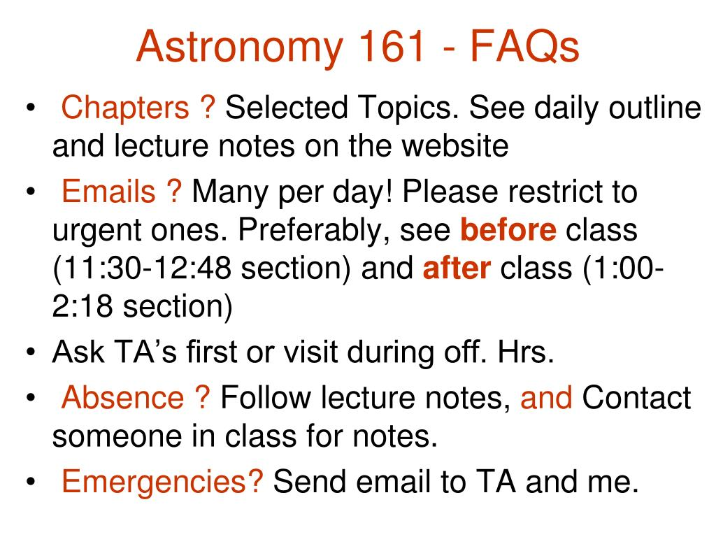 Astronomy 161 - FAQs