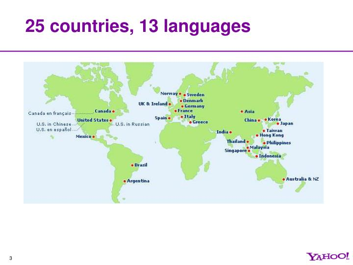 25 countries 13 languages