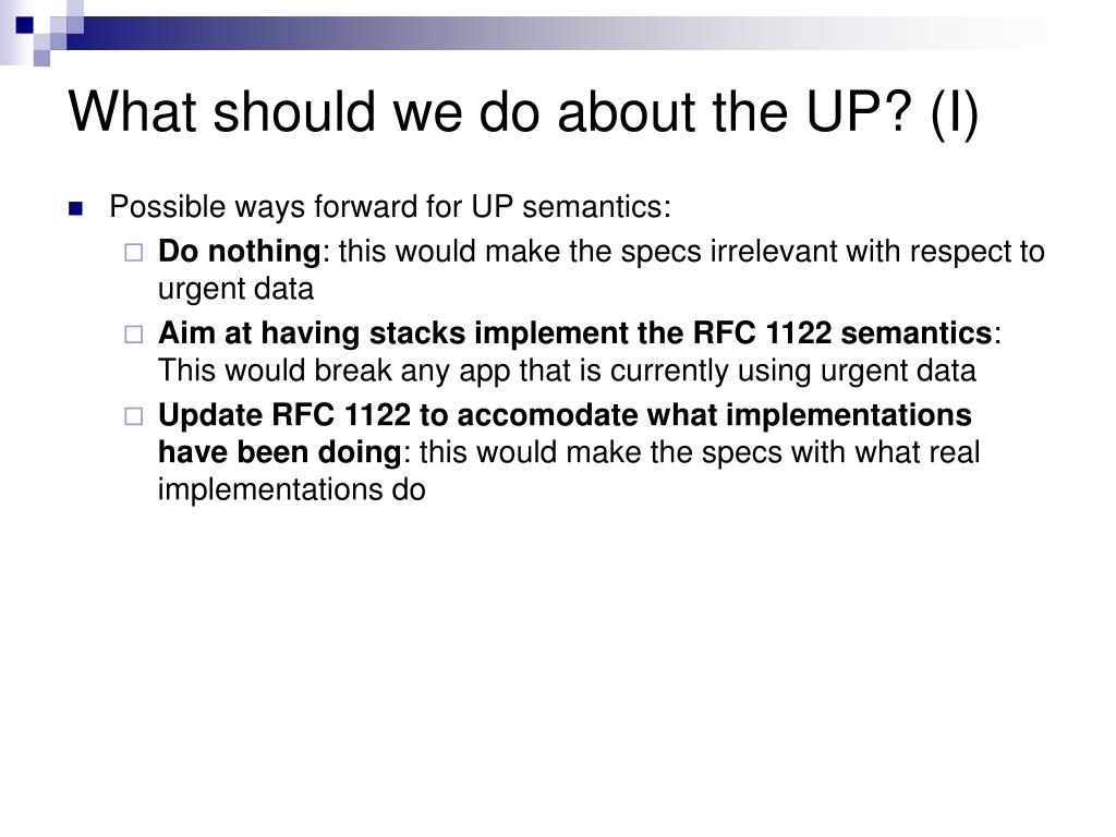 What should we do about the UP? (I)