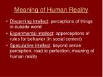 meaning of human reality