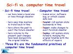 sci fi vs computer time travel