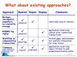 what about existing approaches