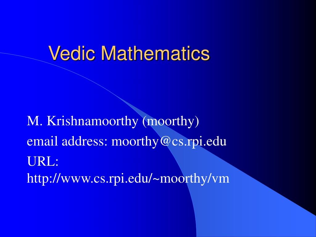 vedic mathematics l.
