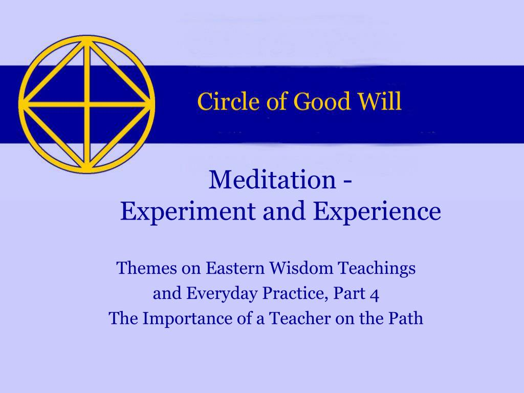 meditation experiment and experience l.