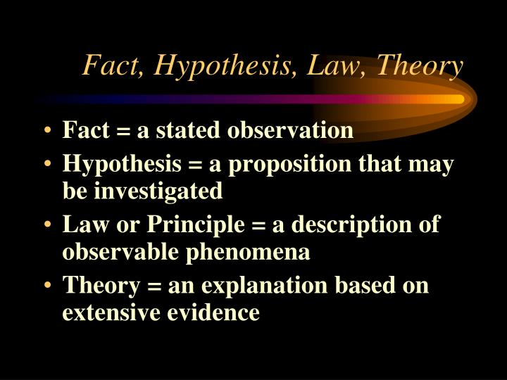 Fact hypothesis law theory