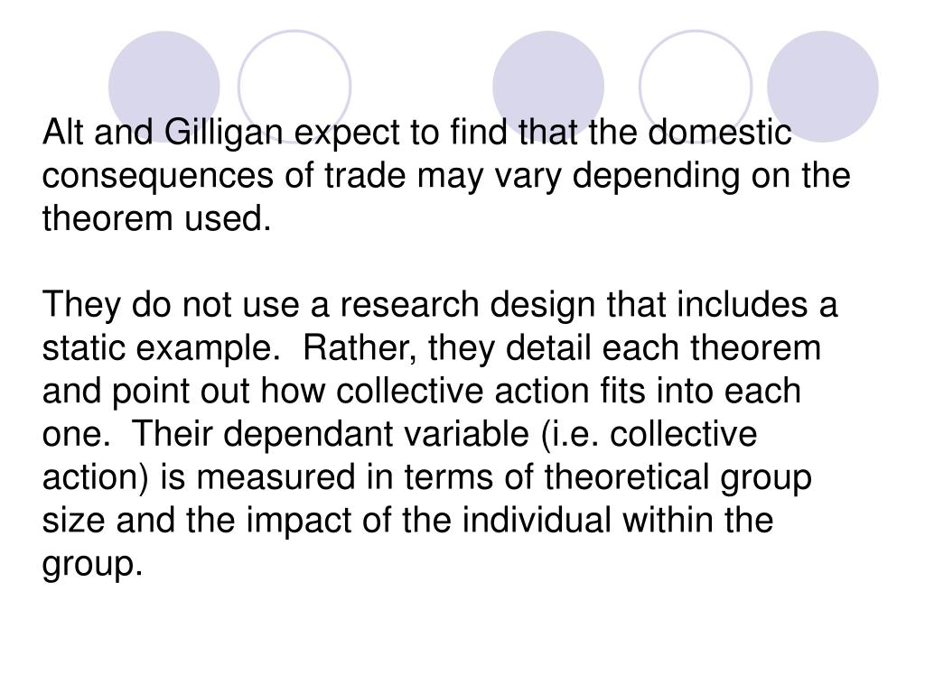 Alt and Gilligan expect to find that the domestic consequences of trade may vary depending on the theorem used.