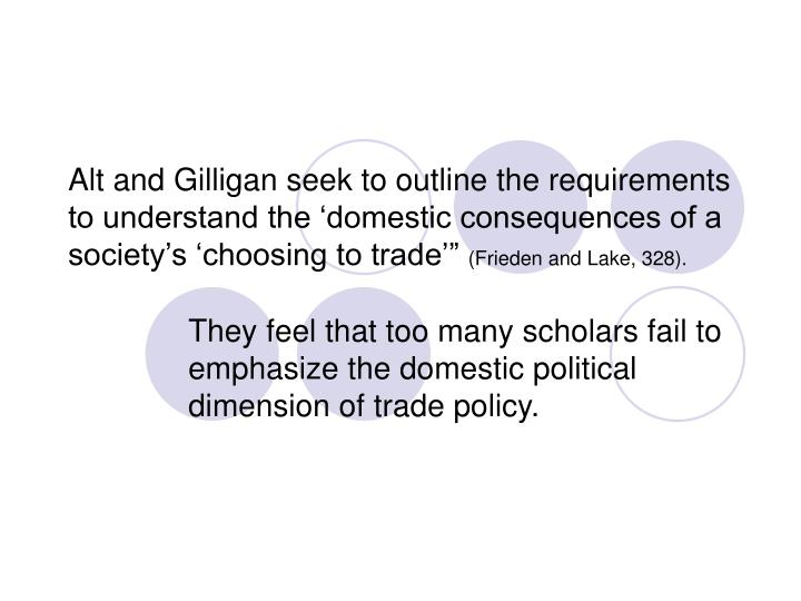 They feel that too many scholars fail to emphasize the domestic political dimension of trade policy