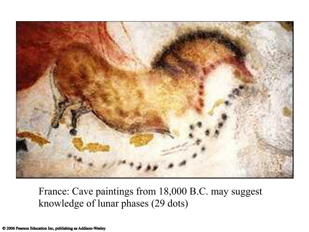 France: Cave paintings from 18,000 B.C. may suggest knowledge of lunar phases (29 dots)