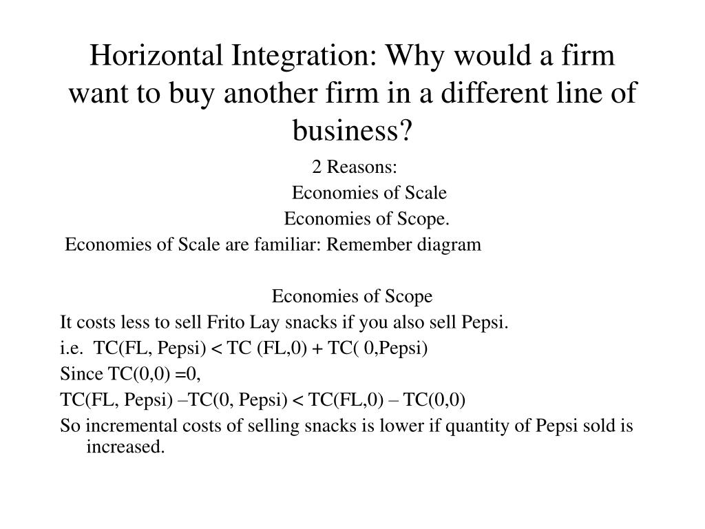 Horizontal Integration: Why would a firm want to buy another firm in a different line of business?