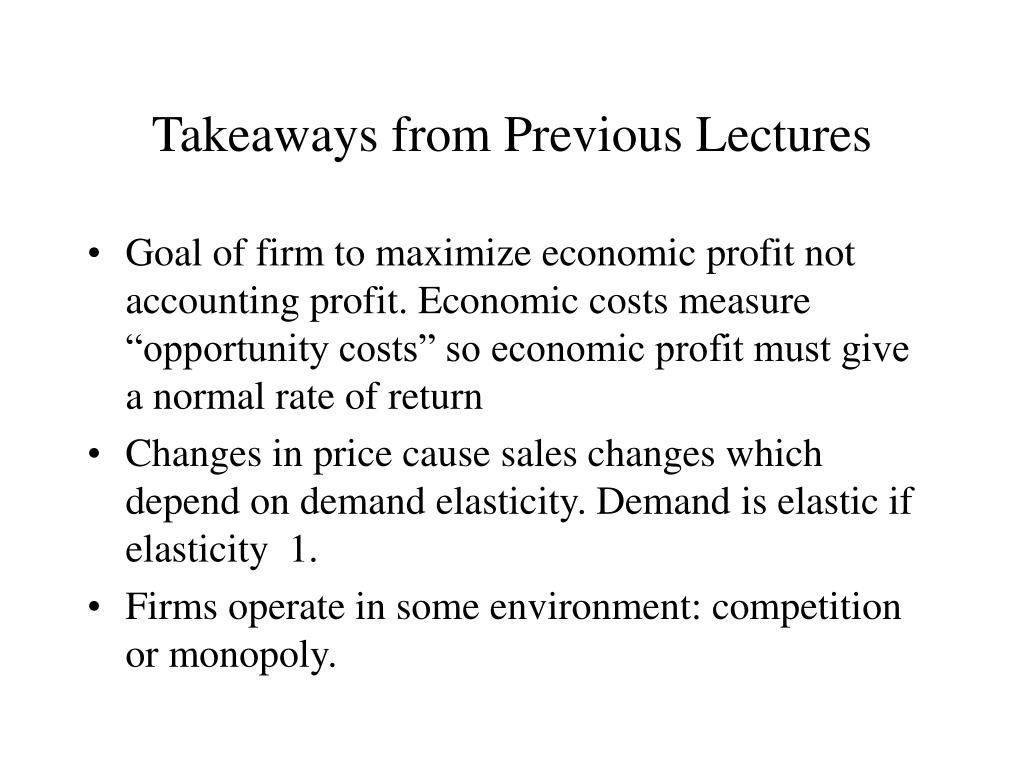 Takeaways from Previous Lectures