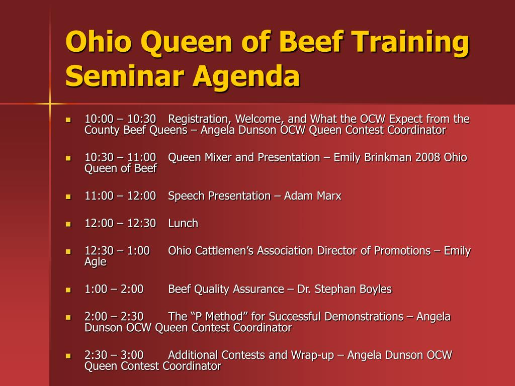 Ohio Queen of Beef Training Seminar Agenda