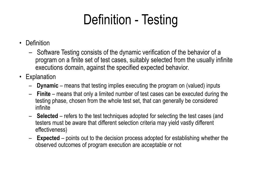 Definition - Testing