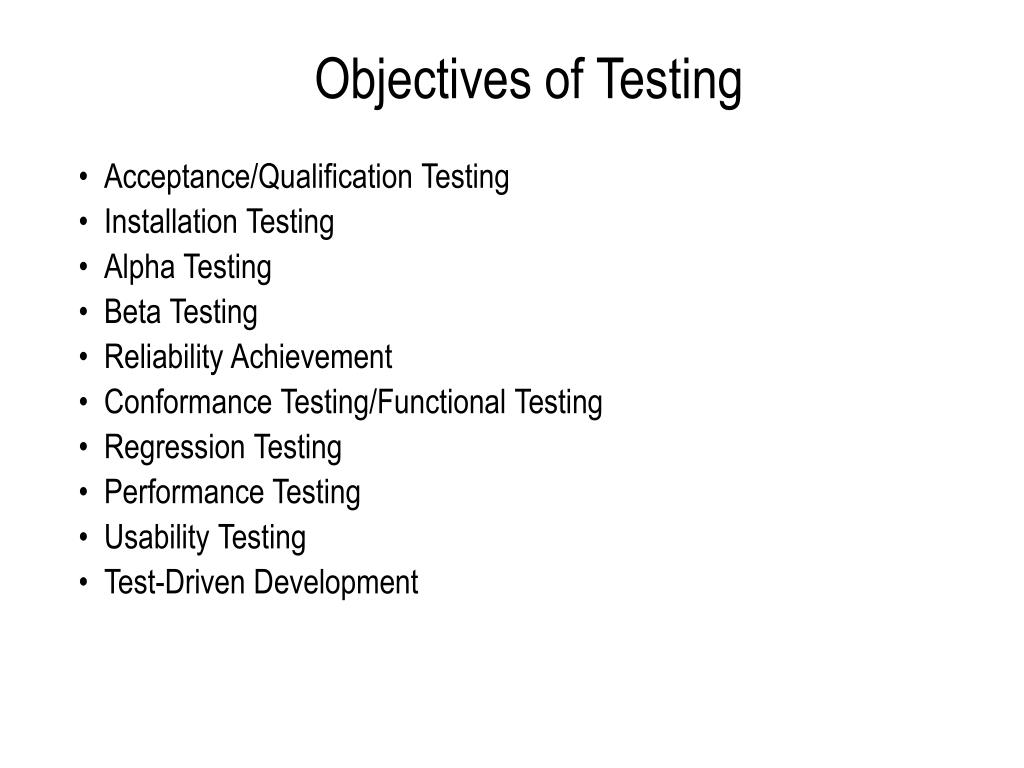 Objectives of Testing