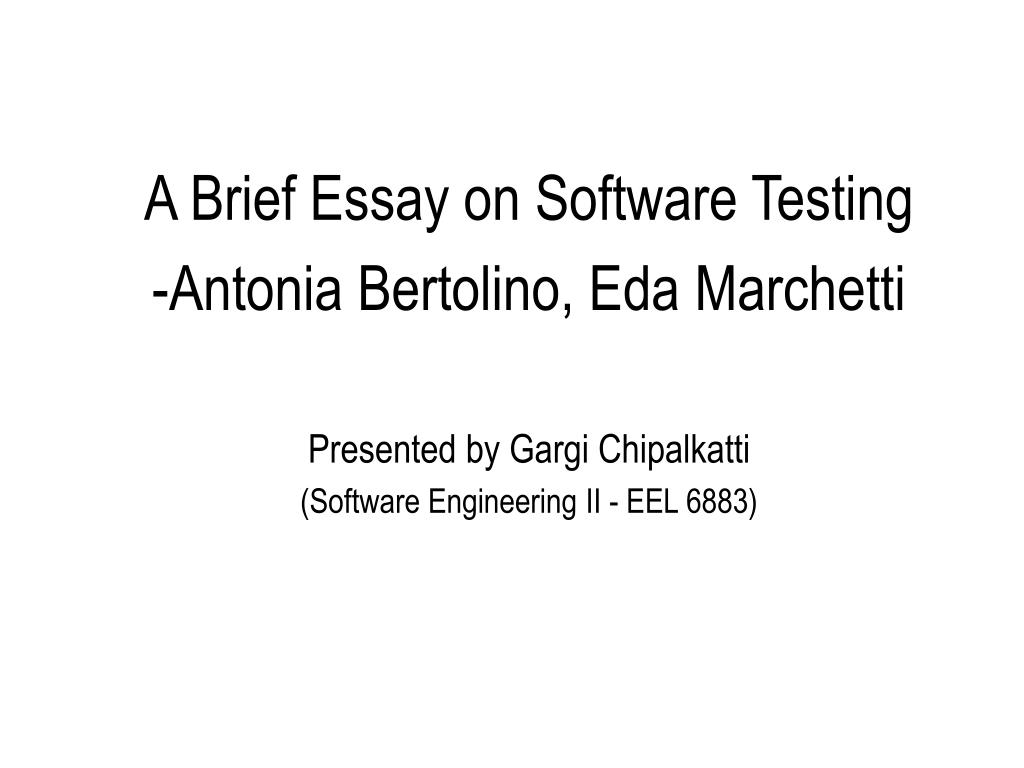 A Brief Essay on Software Testing