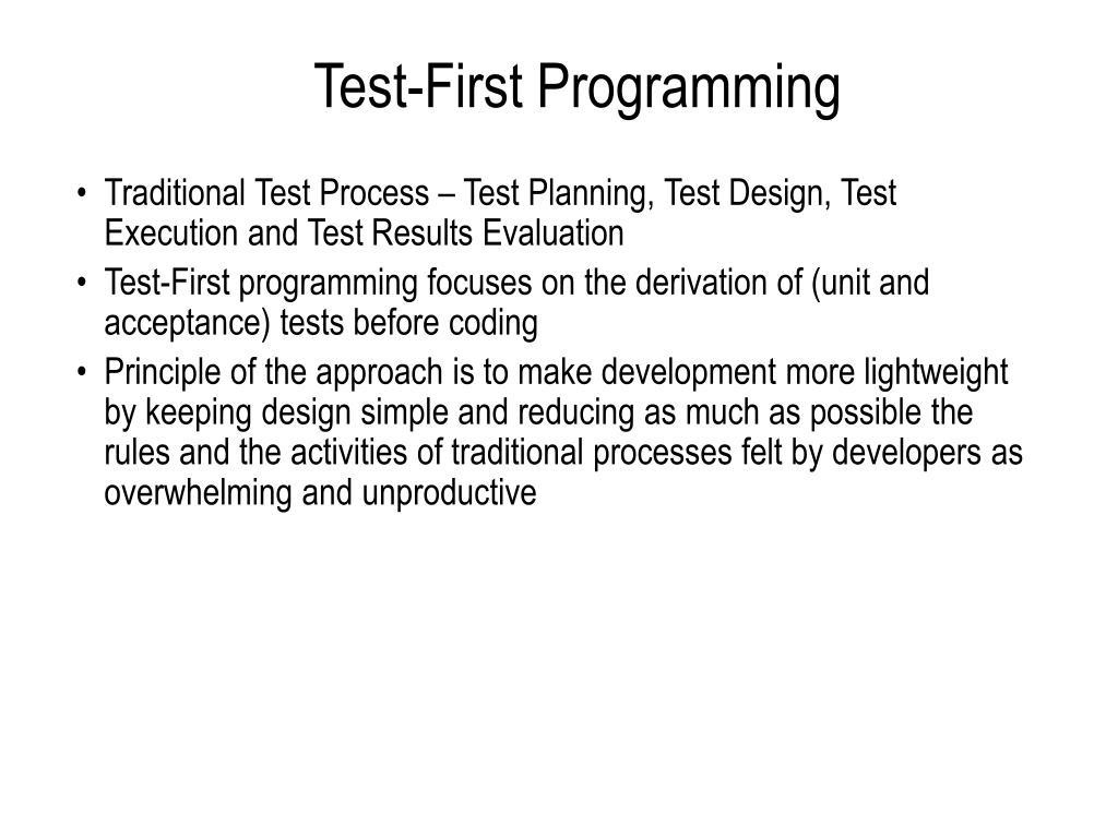 Test-First Programming