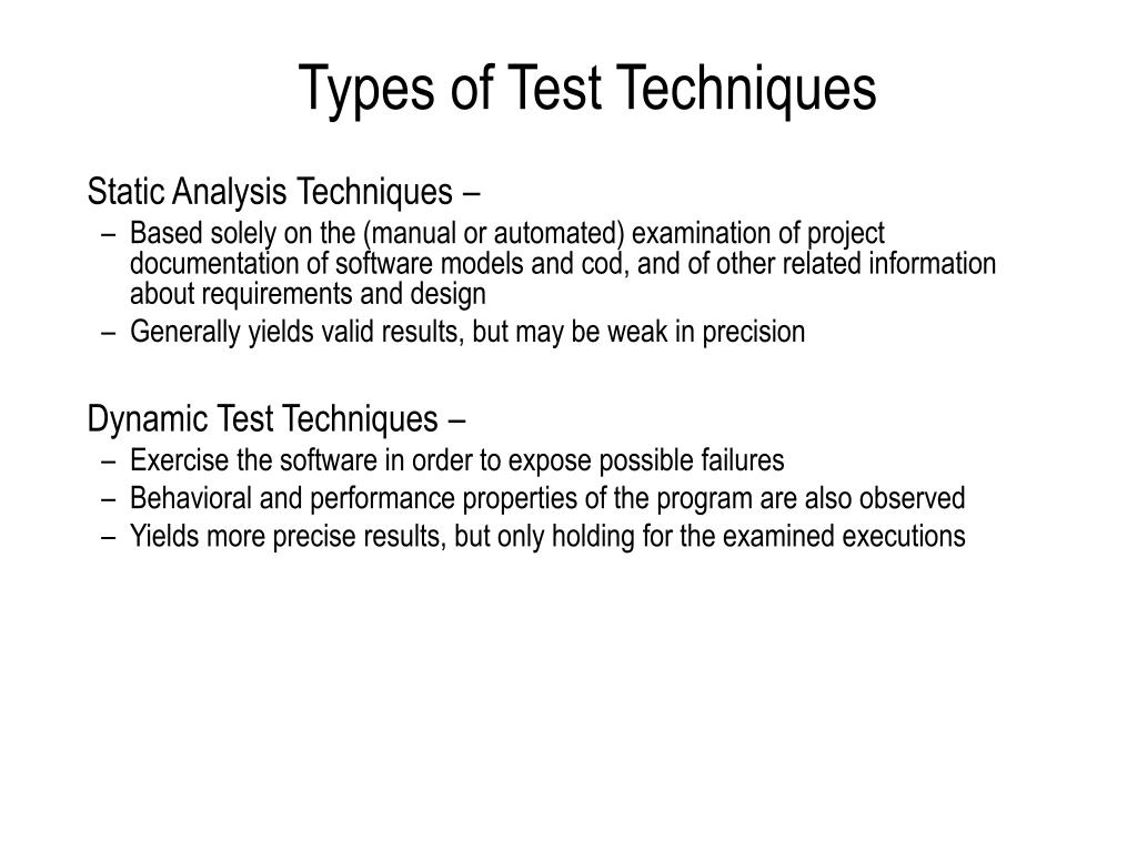 Types of Test Techniques