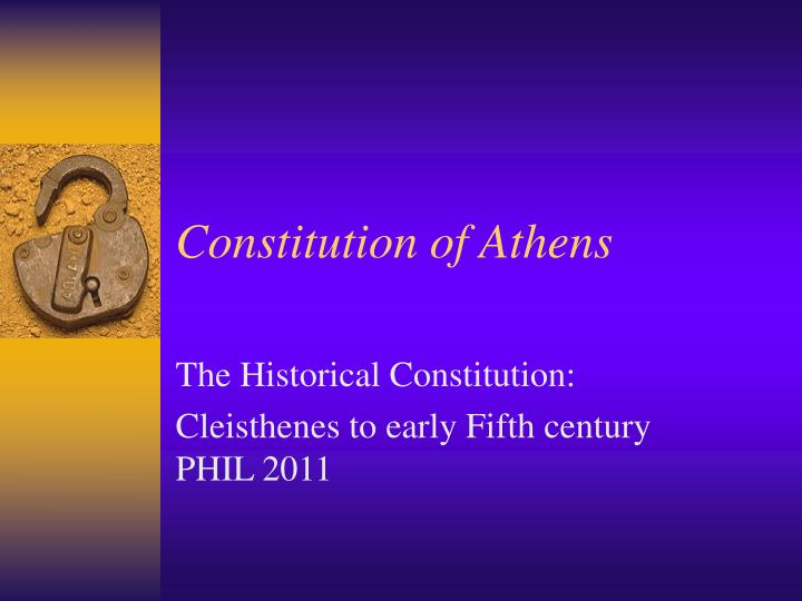 athenian constitution outline View homework help - aristotle's athenian constitution summary from history 1001 at cuny baruch gil refael 10/06/14 the athenian constitution, aristotle i) before draco - officials appointed based.