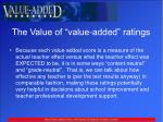 the value of value added ratings