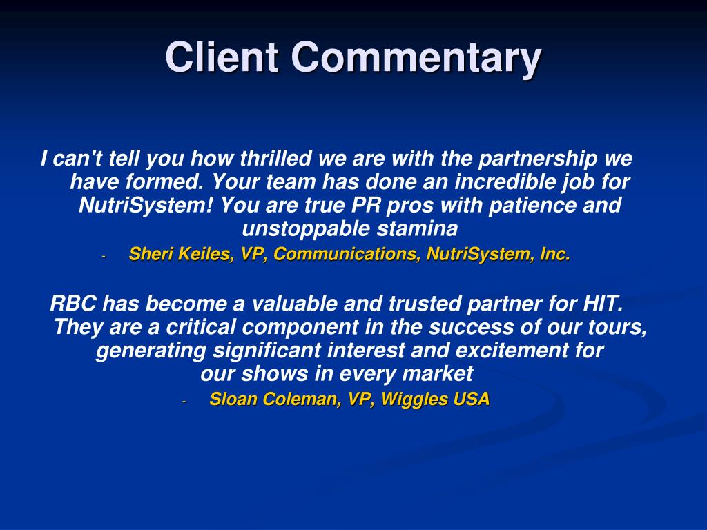 Client Commentary