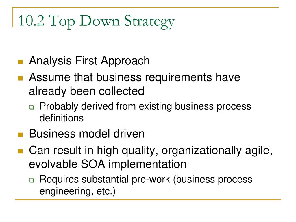 10.2 Top Down Strategy