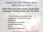 summit on 21st century skills what did we find