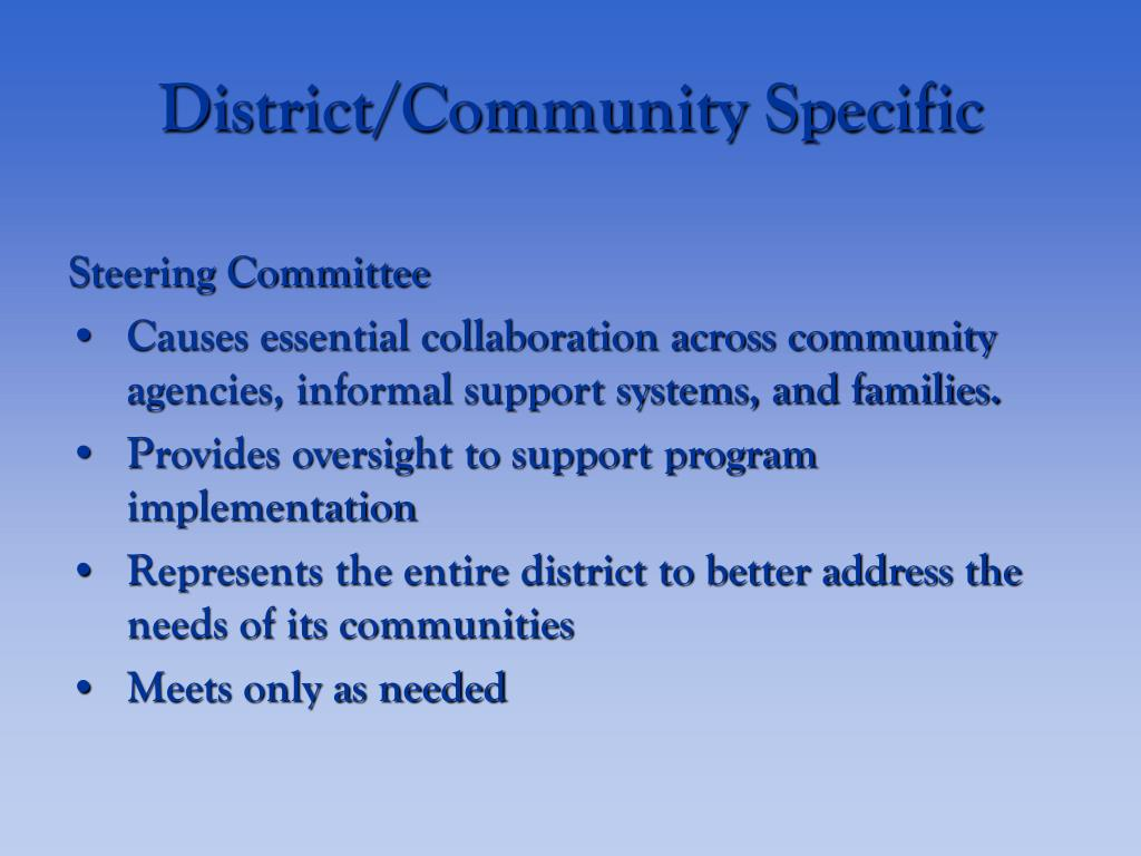 District/Community Specific