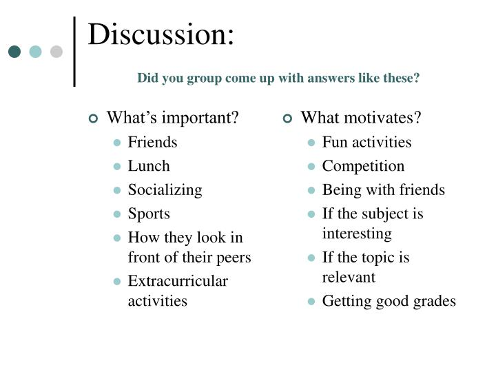 Discussion did you group come up with answers like these