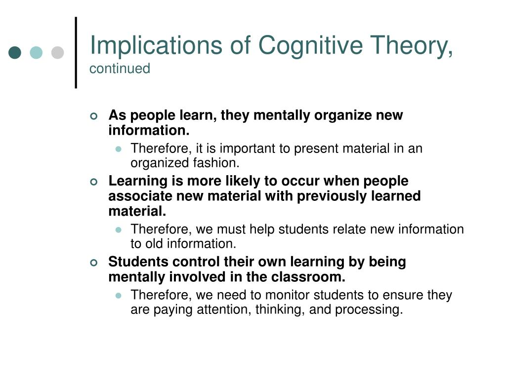 Implications of Cognitive Theory,
