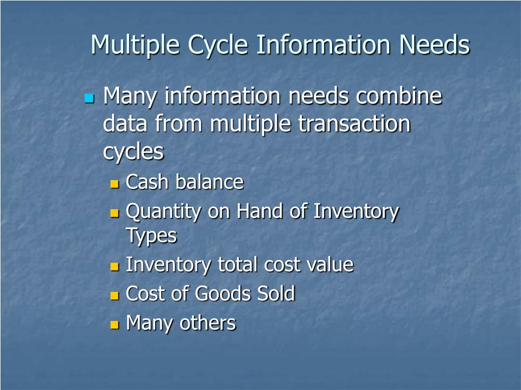 Multiple Cycle Information Needs