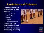 landmines and ordnance