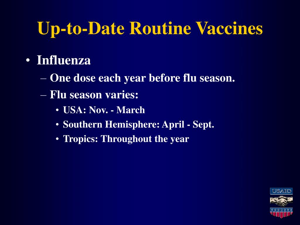 Up-to-Date Routine Vaccines