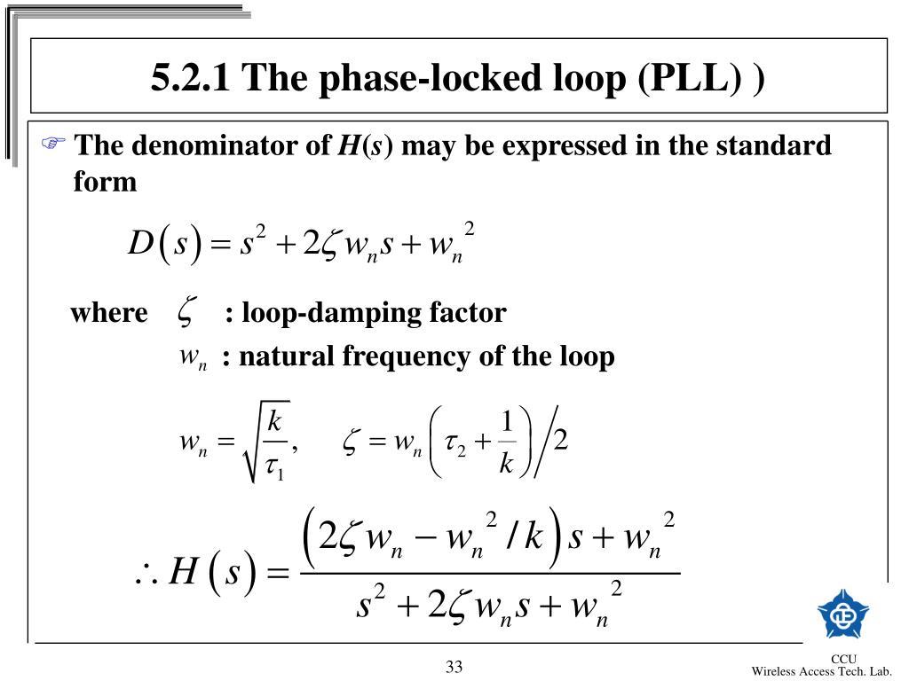 5.2.1 The phase-locked loop (PLL) )