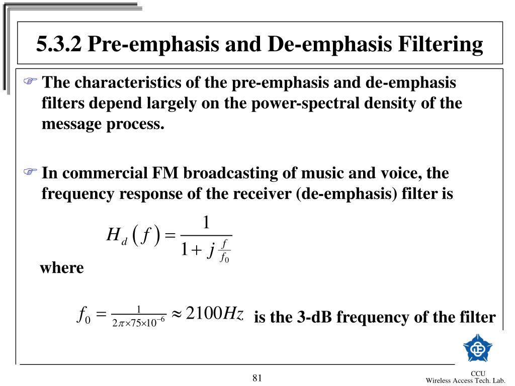 5.3.2 Pre-emphasis and De-emphasis Filtering