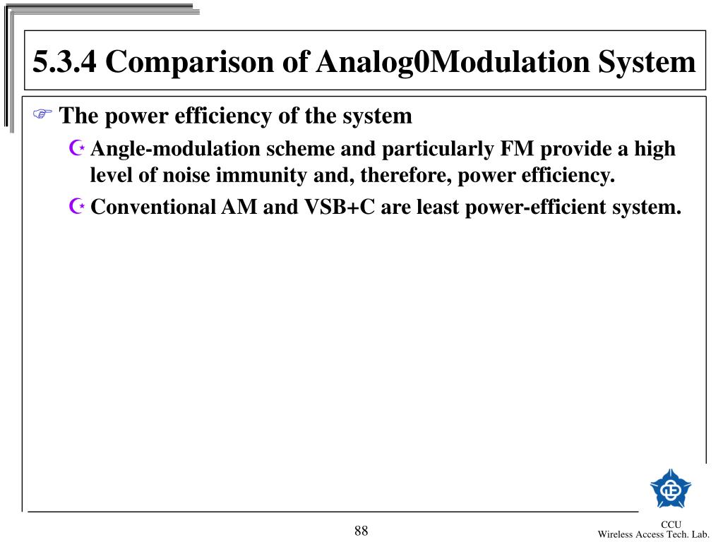 5.3.4 Comparison of Analog0Modulation System