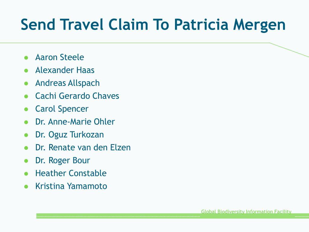 Send Travel Claim To Patricia Mergen