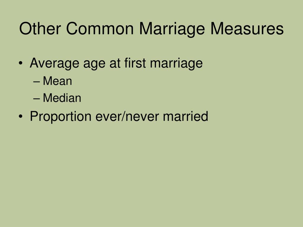Other Common Marriage Measures