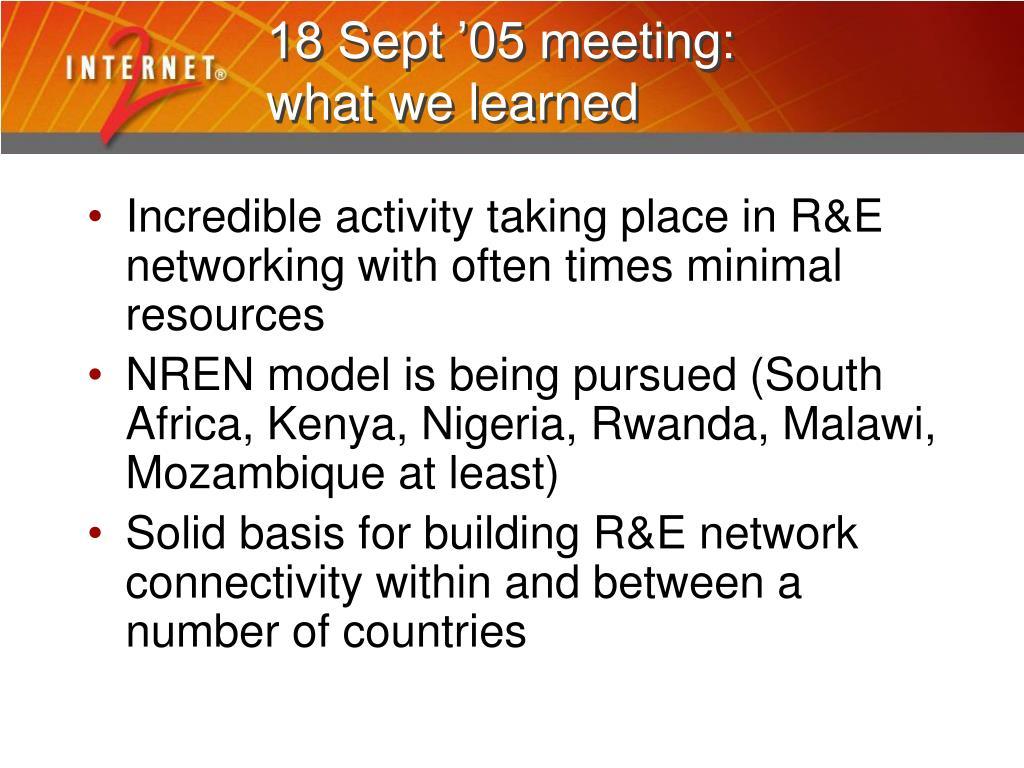 18 Sept '05 meeting: