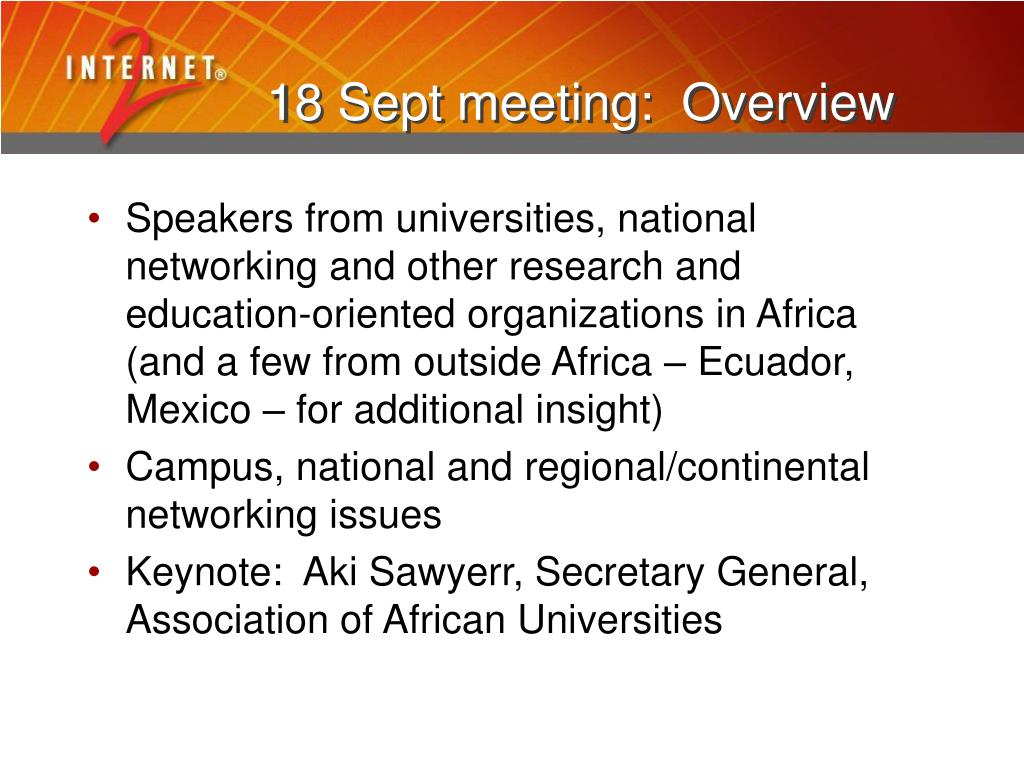 18 Sept meeting:  Overview
