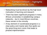 campus network highlights summarized by tusu