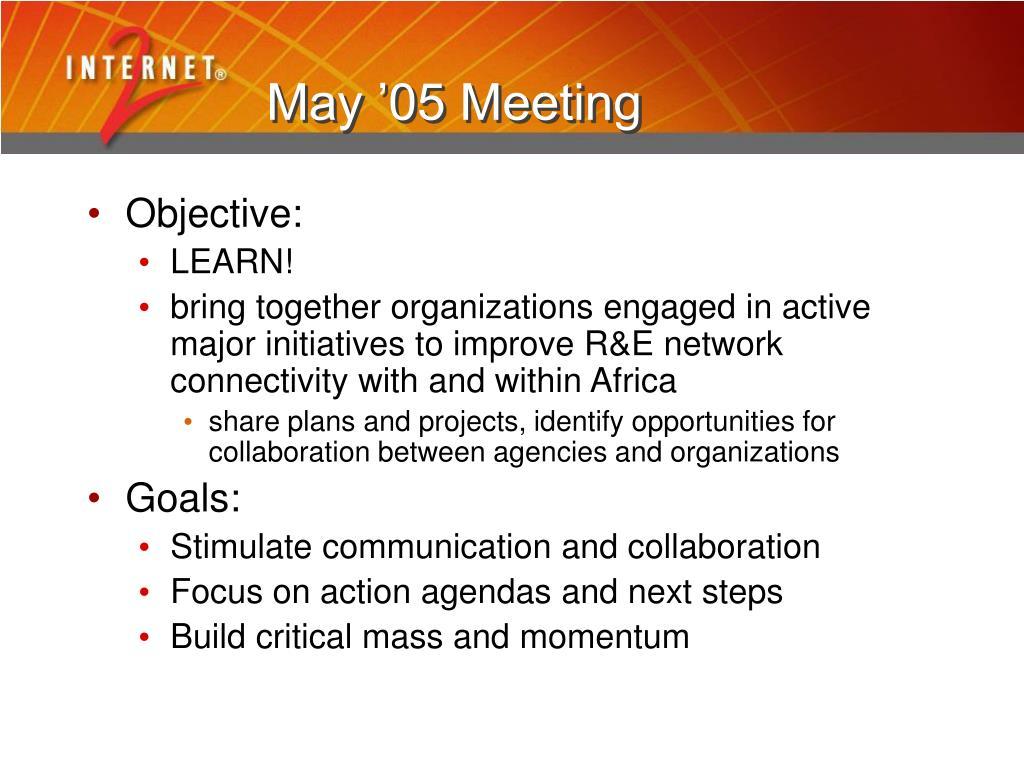 May '05 Meeting